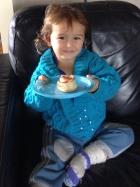 Luka eats granddad's apple pastry