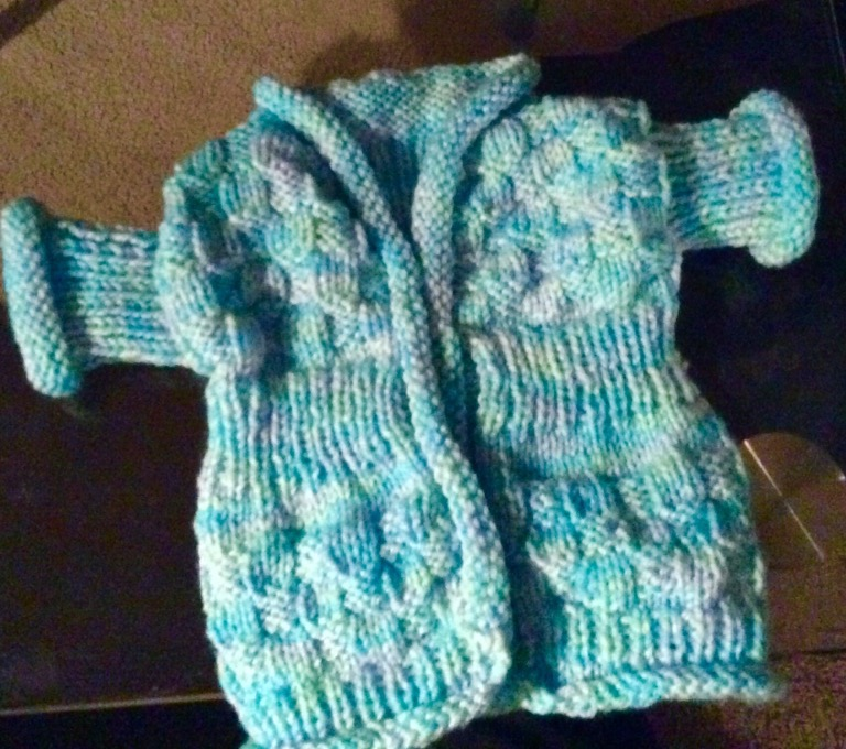 Baby Blue – baby's blue cardi almost finished