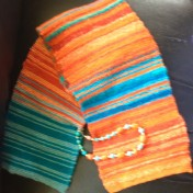 Happy Holidays scarf orange blue (2)