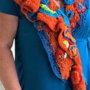 Shawl - Tangerine Turquoise Scrumble - Listing #375046  (1)