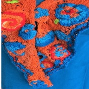 Shawl - Tangerine Turquoise Scrumble - Listing #375046  (6)